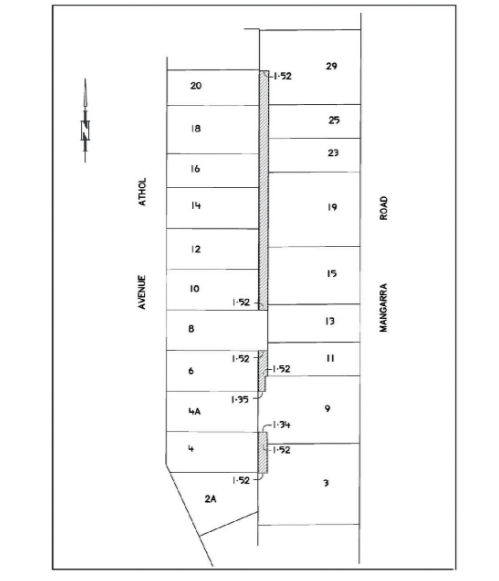 Map showing the land proposed for sale and the adjacent lots