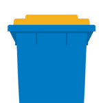 Blue bin with a yellow lid.
