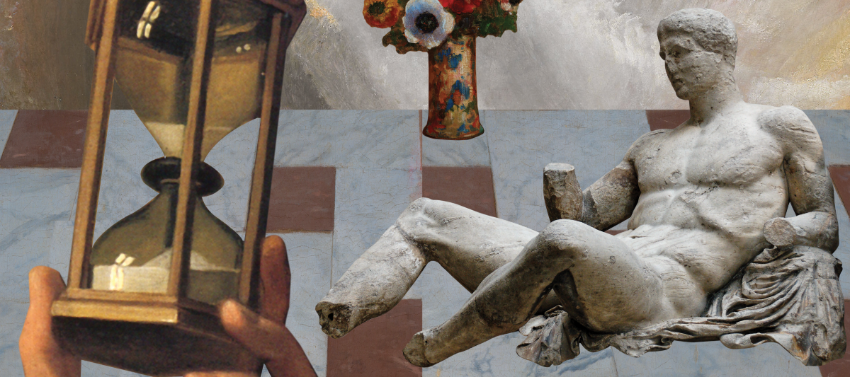 Digital collage of Renaissance imagery, including a marble statue, a hand holding a sand timer and a vase of flowers, all placed on a marble tiled floor.