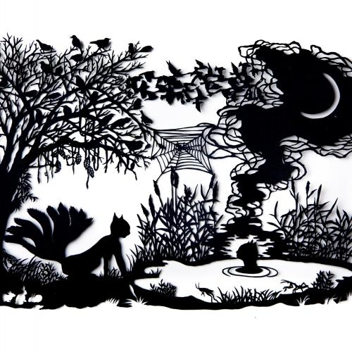 A paper cut image of a garden at night with trees and a burning fire