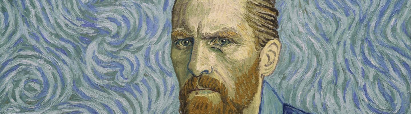A gestural painting of Vincent van Gogh with a swirl patterned background